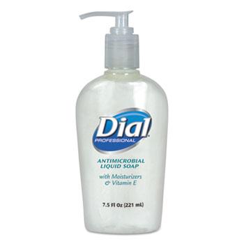 Liquid Dial® Antimicrobial Soap w/Moisturizers and Vitamin E, 7.5oz Décor Pump, 12/Carton
