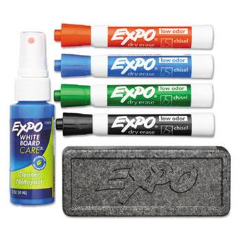 Low Odor Dry Erase Marker Starter Set, Chisel, Assorted, 4/ST