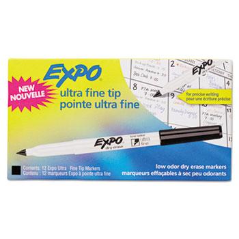 Low-Odor Dry-Erase Marker, Ultra Fine Point, Black, Dozen