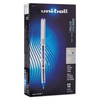 Vision Roller Ball Stick Waterproof Pen, Blue Ink, Fine, Dozen