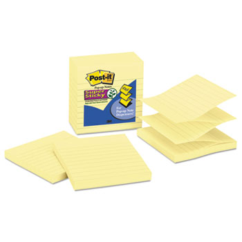 Post-it® Super Sticky Pop-up Notes Refill, Lined, 4 x 4, Canary Yellow, 90-Sheet, 5/Pack