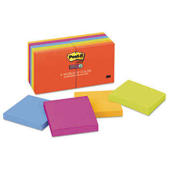 Post-it® Notes Super Sticky, Pads in Marrakesh Colors, 3 x 3, 90-Sheet, 12/Pack