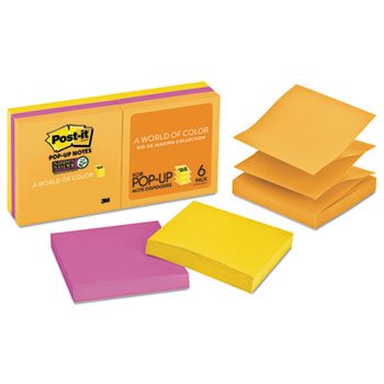 Post-it® Super Sticky Pop-up 3 x 3 Note Refill, Rio de Janeiro, 90 Notes/Pad, 6 Pads/Pack