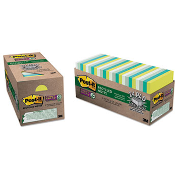 Post-it® Notes Super Sticky, Recycled Notes in Bora Bora Colors, 3 x 3, 70-Sheet, 24/PK