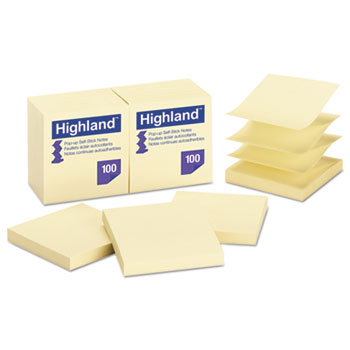 Self-Stick Pop-Up Notes, 3 x 3, Yellow, 100 Sheets, 12/PK