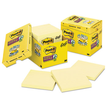 Post-it® Notes Super Sticky, Canary Yellow Note Pads, Lined, 4 x 4, 90-Sheet, 12/Pack