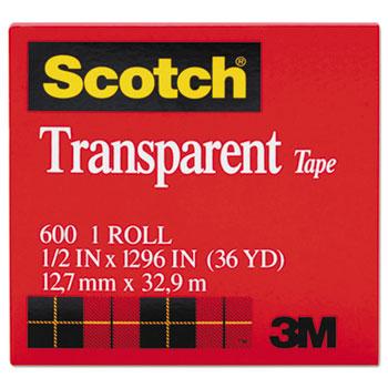 """Scotch™ Transparent Tape, 1/2"""" x 1296"""", 1"""" Core, Clear"""