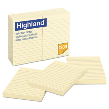 Highland™ Self-Stick Notes, 4 x 6, Yellow, 100 Sheets, 12/PK