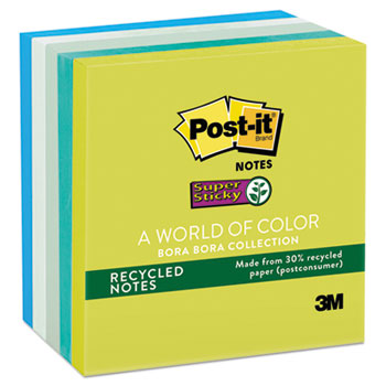 Post-it® Notes Super Sticky, Recycled Notes in Bora Bora Colors, 3 x 3, 90-Sheet, 5/Pack