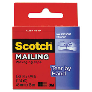 "Scotch™ Tear-By-Hand Packaging Tape, 1.88"" x 17 1/2 yds, 1 1/2"" Core, Clear"