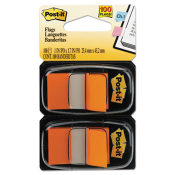 Post-it® Flags Standard Page Flags in Dispenser, Orange, 100 Flags/Dispenser