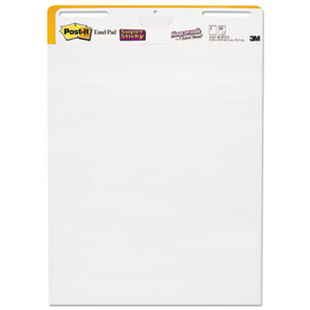 Self Stick Wall Easel Unruled Pad, 25 x 30, White, 30 Sheets, 2 Pads/Carton