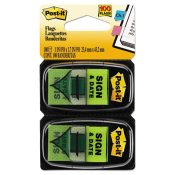 """Post-it® Flags Arrow Message 1"""" Page Flags, """"Sign and Date"""", Green, 2 50-Flag Dispensers/Pack"""