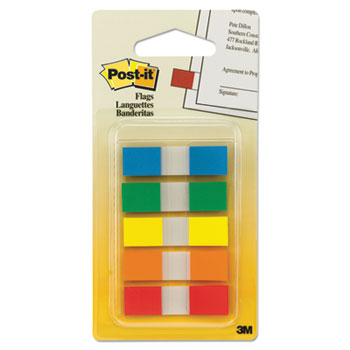 Post-it® Flags, Page Flags in Portable Dispenser, 5 Standard Colors, 20 Flags/Color