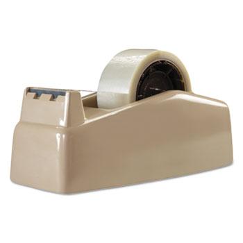 "Two-Roll Desktop Tape Dispenser, 3"" Core, High-Impact Plastic, Beige"