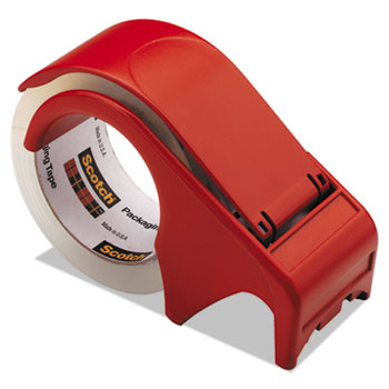 """Scotch™ Compact and Quick Loading Dispenser for Box Sealing Tape, 3"""" Core, Plastic, Red"""