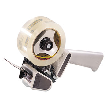 "Scotch™ H180 Box Sealing Pistol Grip Tape Dispenser, 3"" Core, Plastic/Metal, Gray"