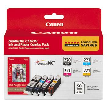 Canon® 2945B011 (PGI-220/CLI-221) Ink/Paper Combo, Black/Cyan/Magenta/Yellow