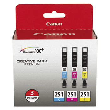 Canon® 6514B009 (CLI-251) ChromaLife100+ Ink, Cyan/Magenta/Yellow