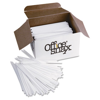 "Office Snax® Plastic Stir Sticks, 5"", Plastic, White, 1000/Box"