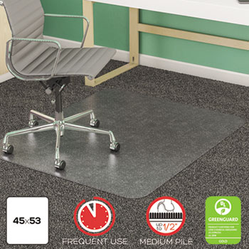 deflecto® SuperMat Frequent Use Chair Mat for Medium Pile Carpet, Beveled, 45 x 53, Clear