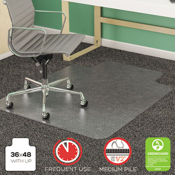 deflecto® SuperMat Frequent Use Chair Mat for Medium Pile Carpet, 36 x 48 w/Lip, Clear