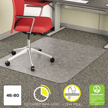 deflecto® EconoMat Occassional Use Chair Mat for Low Pile, 46 x 60, Clear