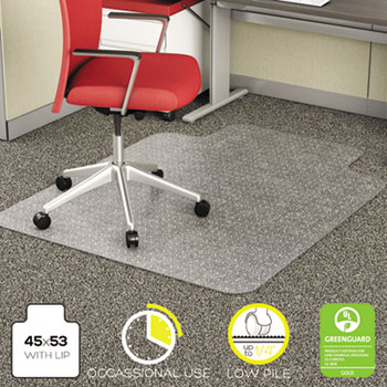 EconoMat Occassional Use Chair Mat for Low Pile, 45 x 53 w/Lip, Clear