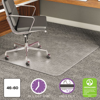deflecto® ExecuMat Intense All Day Use Chair Mat for High Pile Carpet, 46 x 60, Clear