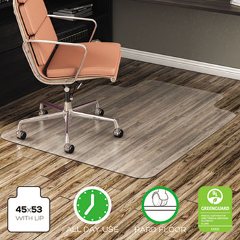 """deflecto® EconoMat Anytime Use Chair Mat for Hard Floor, 45"""" x 53"""" w/Lip, Clear"""