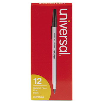 Universal™ Stick Ballpoint Pen, Fine 0.7mm, Black Ink, Gray Barrel, Dozen