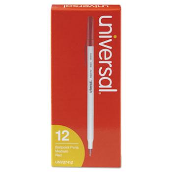 Stick Ballpoint Pen, Medium 1mm, Red Ink, Gray Barrel, Dozen