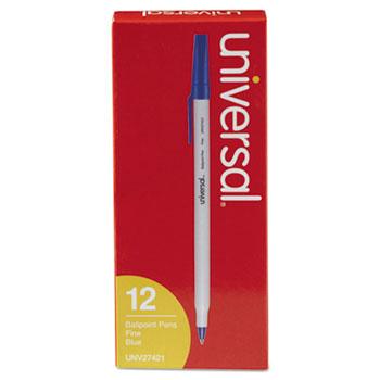 Stick Ballpoint Pen, Fine 0.7mm, Blue Ink, Gray Barrel, Dozen