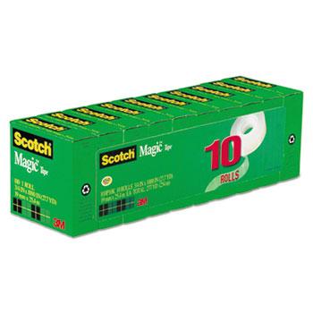 "Magic Tape Value Pack, 3/4"" x 1000"", 1"" Core, Clear, 10/PK"