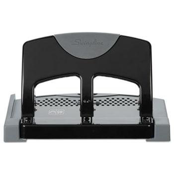 "Swingline® 45-Sheet SmartTouch Three-Hole Punch, 9/32"" Holes, Black/Gray"