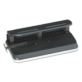 """24-Sheet Easy Touch Three- to Seven-Hole Punch, 9/32"""" Holes, Black"""