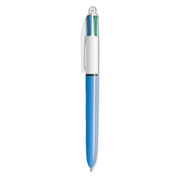 4-Color Ballpoint Retractable Pen, Assorted Ink, Blue Barrel, 1mm, Medium