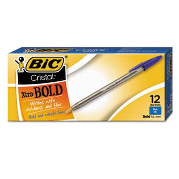 BIC® Cristal Xtra Bold Ballpoint Pen, Blue Ink, 1.6mm, Bold, Dozen