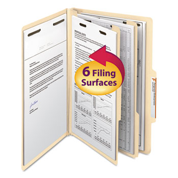 Smead® Manila Classification Folders with 2/5 Right Tab, Legal, Six-Section, 10/Box