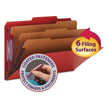 """Smead® 3"""" Expansion Folders with 2/5 Cut Tab, Legal, Eight-Section, Bright Red, 10/Box"""