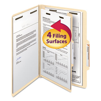 Manila Classification Folders with 2/5 Right Tab, Legal, Four-Section, 10/Box