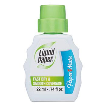 Paper Mate® Liquid Paper® Fast Dry Correction Fluid, 22 ml Bottle, White, 1/Dozen