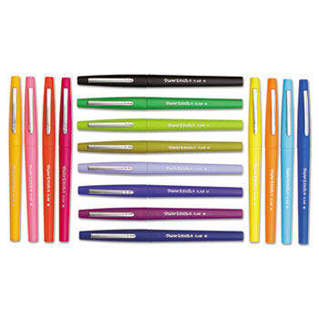 Point Guard Flair Porous Point Stick Pen, Assorted Ink, Medium, 16/Pack
