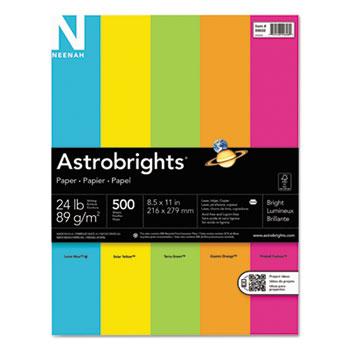 """Astrobrights® Color Paper, 8 1/2"""" x 11"""", 24 lb./89 gsm., Bright 5-Color Assortment, 500/PK"""