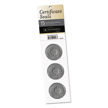"Southworth® Certificate Seals, ""Achievement"", 1 3/4"" dia., Silver, 15/Pack"