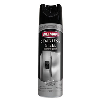 WEIMAN® Stainless Steel Cleaner & Polish, 17 oz. Aerosol, Unscented, 6/CT