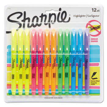 Accent Pocket Style Highlighter, Chisel Tip, Assorted Ink, 12 per Set