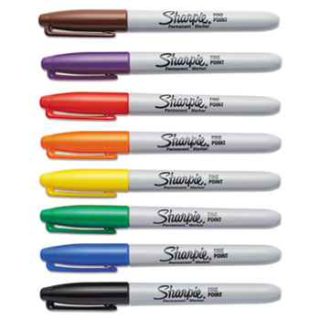 Fine Point Permanent Marker, Assorted, 8/Set