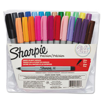 Sharpie® Permanent Markers, Ultra Fine Point, Assorted, 24/Set