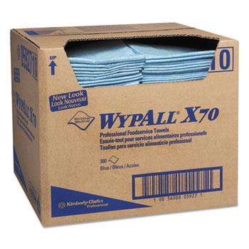 WypAll® X70 Foodservice Towels, 1/4-Fold, 12 1/2 x 23 1/2, Blue, 300/Carton